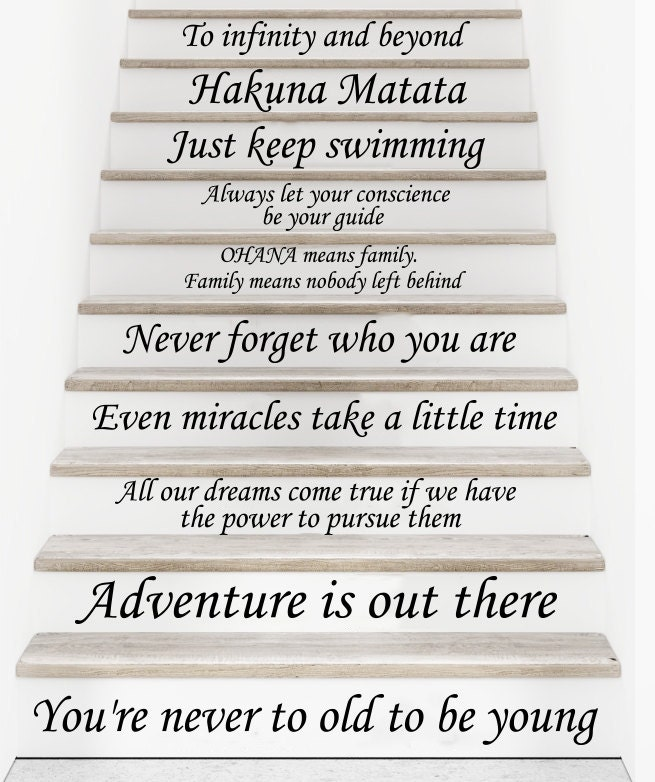 Stair Decals Disney Quotes Stairway Decals Steps Quote - Custom vinyl decal application instructionsapplication etsy