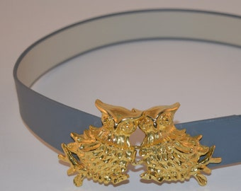"""Vintage """"Princess Mimi di Niscemi"""" Removable Gold Tone Metal Owl Buckle with Gray Leather Belt"""