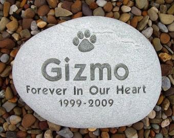 Large River Stone Pet Memorial -  Custom Engraved - Free Shipping