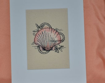 SEASHELL Embroidery on Canvas Matted 8 X 10 Coastal  Beach  Home Decor