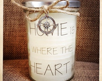 """Kerze im Glas/Jar candle """"Home is where the heart is"""""""