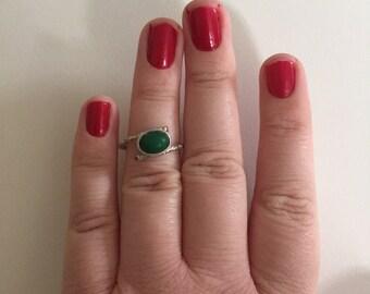 Vintage Cabochon Dark Green Jade 925 Sterling Silver Bamboo Swirl Band Ring