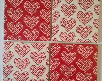 Red and White Love Heart set of 4