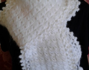 "White Ladies/Girls Scarf - Made in Broomstick Crochet with ""Snowball"" Tassel Trim. Fluffy Soft Acrylic Yarn."