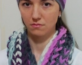 Hand Knit Cable Scarf and Hat set