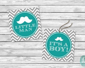 Printable Tag Baby Shower Little Man Baby Shower Birthday Party Printable Sticker Cupcake Topper Mustache Stripe Its A Boy Favor Tag