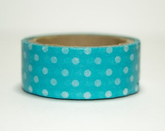 Washi Tape for turquoise with white polka dots