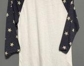Baseball Tee - Blue Stars Sleeve - Blank