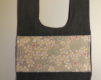 Bib pink and grey recycled denim