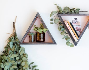 Triangle Floating Shelf / Display Shelf - Copper with ebony stain
