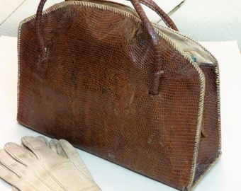 Vintage Reptile Skin Handbag - retro bag - old handbag (stock#6468)