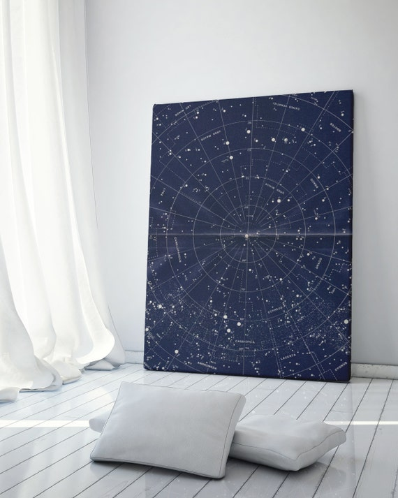 Vintage Star Wall Decor : Canvas wall art vintage constellation map by themooncorner