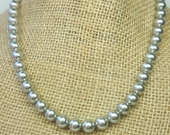 Grey Swarovski Pearl Necklace, Silver Bridesmaids Necklaces, More Colors Available, Light Grey Swarovski Pearls, Grey Pearl Wedding Jewelry