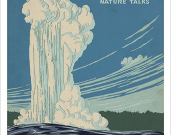 Yellowstone National Park Vintage Travel Poster 24x36 Giant Geyser Wilderness