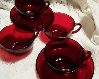 Two Ruby Red Tea Cup Sets with EXTRA cups - Vintage
