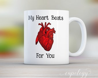 My Heart Beats For You, Valentines Day Mug, Love Mug, Doctor Gift, Cardiologist Gift, Valentines Day Gift, Gift for him, Coffee mug