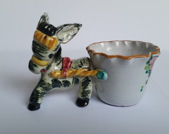 Donkey With Cart Planter- Majolica Style