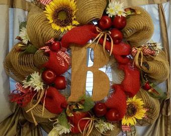 Country apple burlap wreath