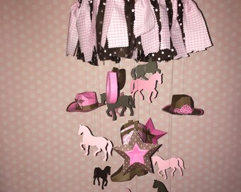 Cowgirl Baby mobile / Crib Mobile /Nursery Decor 3D