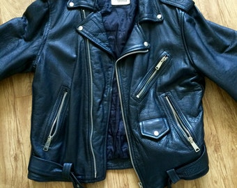 100% Authentic Men's UMR Black Leather Biker Jacket