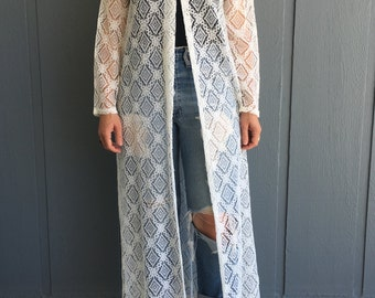 Vintage 70's Women's Long Sleeve Lace Duster