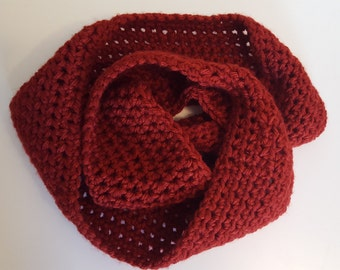 SALE Handmade Cozy Chunky Cowl Scarf, Snood, Neckwarmer in Cherry Red