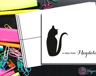 Cat Personalized Note Card / Custom cat Stationery / Cat Lover Stationery Set / Custom Thank You Cards / Set of 12 Notes