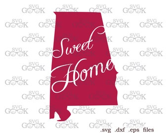 Sweet Home Alabama State SVG cut files, Alabama svg cut files for use with Silhouette, Cricut and other Vinyl Cutters, digital cut file
