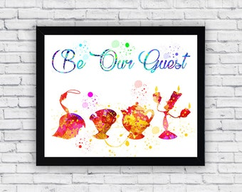 Be Our Guest Beauty and the Beast watercolor printable, Beauty and the Beast Wall Art, Beauty and the Beast poster