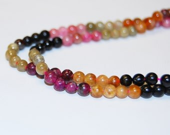 Multi Color Tourmaline Round Loose Beads Size 4mm/6mm 15'' per strand.R-S-TOU-0336