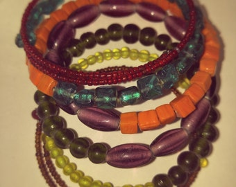 Colorful Bohemian Glass Bead Stretch Bracelet Memory Wire Wrap Colorful Beads Hippy Accessory