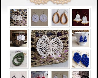 25 Crochet Earrings: Volume 1 of the 101 Crochet Earring Collection - Instant download - Crochet PATTERN (pdf file)