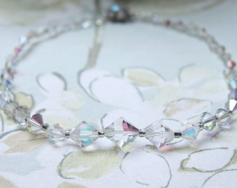 50s Necklace, Aurora Borealis Necklace, Vintage Necklace, Glass Necklace, Wedding Necklace, Bridal Necklace