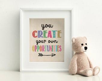 Kids Room Wall Art Print - Create Quote Print - Wall Quote Print - Motivational quote print - Quote Art - Wall Art Quote - Kids Room Decor