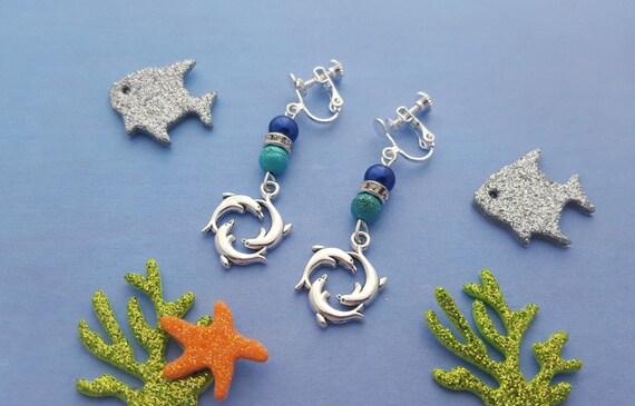 dolphin clip on earrings childrens earrings kids jewellery. Black Bedroom Furniture Sets. Home Design Ideas