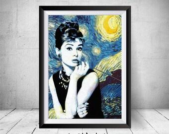 Audrey Hepburn Print, Wall Art Decor, Breakfast at Tiffanys Decor, Audrey Hepburn Poster, Audrey Hepburn Portrait, Printable Starry Night