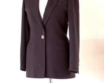 Vintage Escada Chocolate Brown Pure New Wool Ladies Blazer Jacket by Margaretha Ley Embroidered design in Excellent Condition