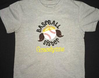 Custom appliqued baseball sister shirt