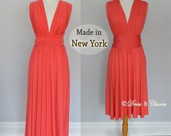 Coral Bridesmaid dress, infinity dress, convertible dress, party dress, prom dress, multiway dress, convertible dress, women dress