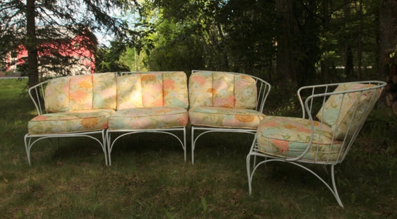 Wrought iron patio furniture Salterini style by AntiqueSelectNY