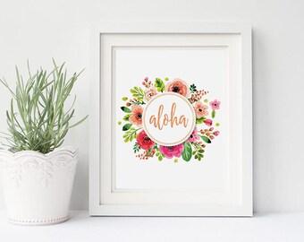 PRINTABLE Art ALOHA Floral Watercolors Print, Summer Art Print, Rose Gold Typography, Tropcial Beach Home Decor, Nursery Floral Wreath Print