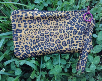 Quilted Leopard Print Wristlet