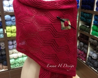 Stole / shawl in point lace (Ruby color)