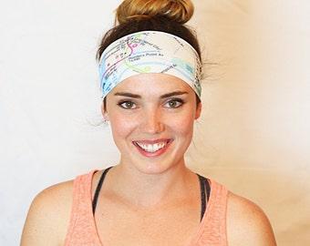 City Map, Yoga Headband, Fitness Headband, Workout Headband, No slip Headband, Running Headband, Wide Headband, Crossfit