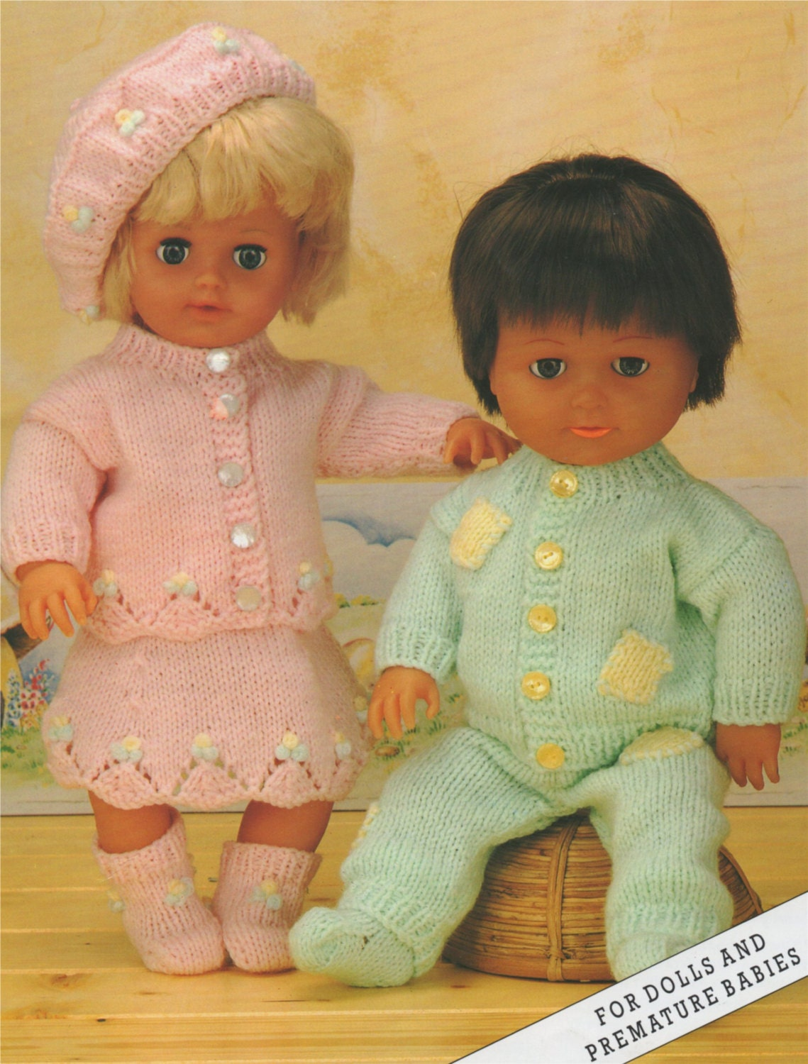 Dolls Clothes PDF Knitting Pattern : 12 16 and 20 inch Baby