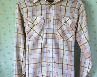 Vintage JC Penny Plain Pockets Plaid Men's Button Down Chemise