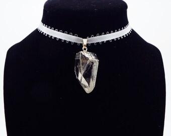Silver Plated Crystal Quartz Lolita Choker