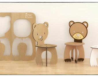 BEAR CHAIR   Cnc Template Cutting File   Wooden Cardboard Step Stool    Aninimal Bear Chair