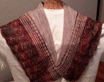 Lace design gray and brown shawl