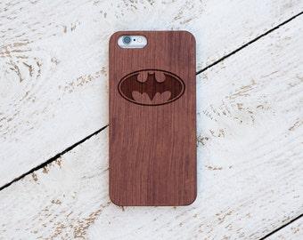 Batman, Wood Case, iPhone 8, iPhone X, 7, 7 Plus, 6s, 6 6 Plus, 5s, 5, SE, Samsung Galaxy S8, S7, S6, Cover, Engraved #4079